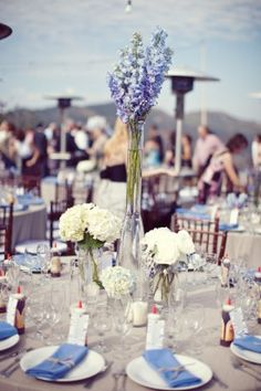 sarah yates photography, delphinium centerpiece, blue wedding centerpiece