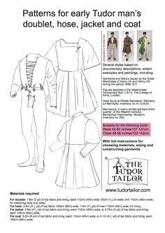 A complete Tudor costume in one pattern! Ideal for late century impressions. With full instructions for choosing materials, sizing and constructing garments - perfect for reenactors. Tudor Fashion, Medieval Fashion, Medieval Clothing, Tudor Costumes, Medieval Costume, Folk Costume, Historical Costume, Historical Clothing, Vintage Sewing Patterns