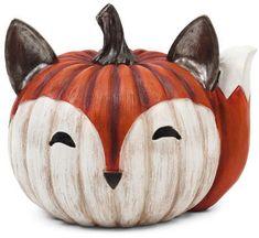 Decorative Resin Fox Pumpkin - Halloween - T. Pumpkin Art, Pumpkin Crafts, Cute Pumpkin, Fall Halloween, Halloween Crafts, Halloween Decorations, Pumkin Decoration, Halloween Window, No Carve Pumpkin Decorating