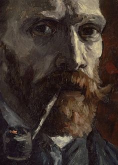Detail from Self-portrait with pipe, Van Gogh.