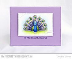 Handmade card from Debbie Olson featuring Playful Peacock stamp set and Die-namics #mftstamps