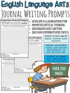 ELA, English Language Arts, Journals, Printer-ready: Start your class off with some engaging, creative and thought-provoking writing prompts! These FULL YEAR writing prompts are a great way to establish a journal or writing routine in your classroom. Each page includes a section for teacher evaluation/comments, and each day of the week has a different topic/theme.