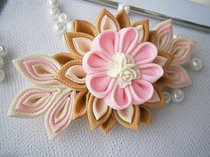 Handmade Kanzashi fabric flower grosgrain by MARIASFLOWERPOWER