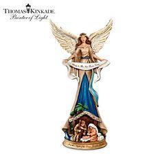 Thomas Kinkade Angel Figurines   Thomas Kinkade Angel Figurine And Holy Family Nativity Scene