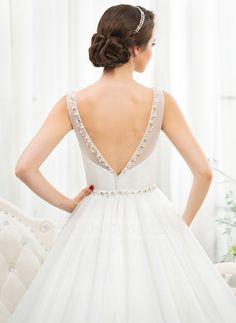 Corte de baile Escote redondo Cola corte Tul Vestido de novia con Bordado Lentejuelas (002055919)