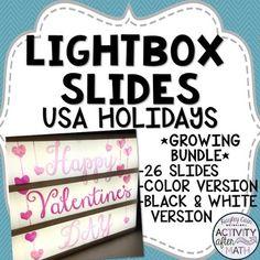 Lightbox Slides USA Holidays by Hayley Cain - Activity After Math Light Up Box, Light Board, Math Teacher, Teacher Pay Teachers, Classroom Organization, Classroom Decor, Usa Holidays, Math Resources, Literacy Activities