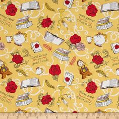 Disney Beauty and the Beast Friends Gold from @fabricdotcom  From Disney and licensed to Camelot Fabrics, step into Belle's world with these Beauty and the Beast cotton print fabrics. This print features Belle's favorite things, good reads and good friends. Mrs. Pots, Chip, Cogsworth, Lumiere, books, and roses are scattered all over this print. Perfect for quilting, apparel, and home decor accents. Colors include yellow, white, brown, cream, red, pink, blue, and black. This is a licensed…