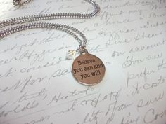 Inspiring ''Believe you can and you will'' citation necklace with crystal de la boutique BijouxdeBrigitte sur Etsy