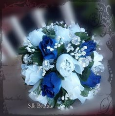 Royal Blue White Bride Bridal Bridesmaid Bouquet by SilkBridals, $29.99