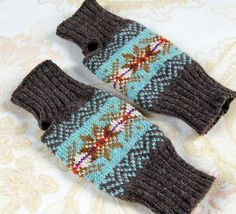 Wool Knit Fair Isle Fingerless Gloves Mitts от helengraydesigns