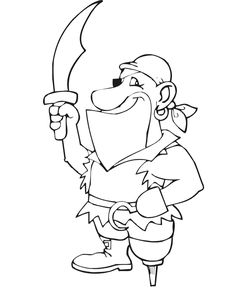 pirate coloring page pirate sword peg leg hooked hand