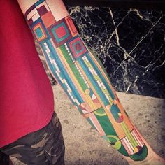 Megan Hoogland inked this gorgeous tattoo based off of a stained glass window by Frank Lloyd Wright. #InkedMagazine #stainedglass #tattoo #tattoos #Inked #ink #art