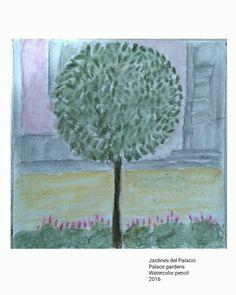 Jardines del Palacio.  Palace gardens  Watercolor,  natural, tree, árbol, acuarela,  detalle
