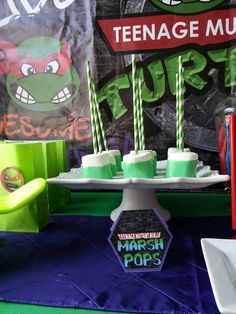 We Heart Parties: Triston's Turtley Awesome Party Turtle Birthday Parties, Ninja Turtle Birthday, Ninja Turtle Party, Ninja Turtles, 4th Birthday, Birthday Ideas, Ninja Party, Heart Party, Decoration