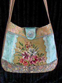 Vintage Needlepoint Flowers, Silk Velvet, French Brocade, Glass Beads, Handbag