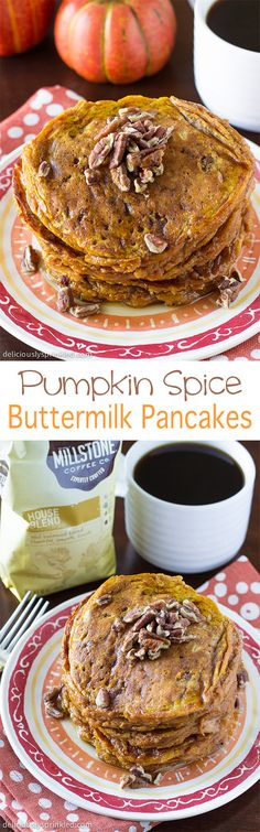 The BEST Pumpkin Spice Buttermilk Pancakes, you have to make these! #MillstoneCoffee #ad #recipe
