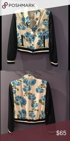 Floral Bomber Jacket Like new floral bomber jacket with faux leather sleeves purchased from Nordstrom. Worn once or twice. Great transition piece from summer to fall! Mural Jackets & Coats