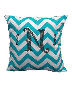 This Turquoise Zigzag Sketch Initial Sham is perfect! #zulilyfinds