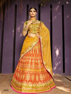 #Designer Lehenga Choli#Orange & Yellow#Indian Wear#Desi Fashion #Natasha Couture #Indian Ethnic Wear #Bridal Wear #Wedding Wear