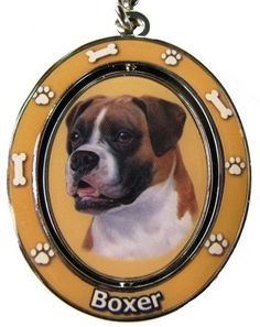 Boxer Uncropped Key Chain Spinning Pet Key ChainsDouble Sided Spinning Center With Boxers Face Made Of Heavy Quality Metal Unique Stylish Boxer Gifts -- This is an Amazon Affiliate link. For more information, visit image link.