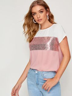 Pink Contrast Sequin Cut-and-sew Curved Hem Top Look Fashion, Fashion News, Fashion Outfits, Fashion Hacks, Dressy Tops, Types Of Sleeves, Blouses For Women, Casual Outfits, Women's Casual