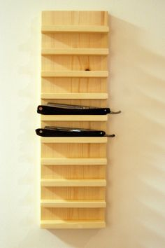 Straight Razor wall mounted wooden display on Etsy, £33.38