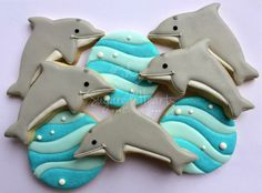1 Dozen Dolphin Cookies by SugaredHeartsBakery on Etsy for Boys birthday