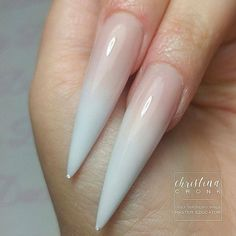 Stiletto ombre nails! Beautiful nails by Ugly Duckling Master Educator @chrystacle - Baby Boomer fade using Ugly Duckling FuFu pink and White acrylic powder Ugly Duckling Nails page is dedicated to promoting quality, inspirational nails created by International Na