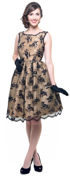 Black Lace Evening In Paris Swing Dress - Unique Vintage - Cocktail, Pinup, Holiday & Prom Dresses.