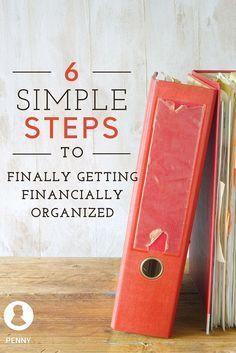 6 Simple Steps to Finally Getting Financially Organized Financial Organization, Organizing Bills, Office Organization, Financial Tips, Financial Planning, Financial Binder, Financial Peace, Financial Literacy, Tips