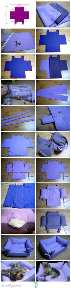 DIY Pet Bed - Can be made with an old blanket, Sheets, sweater, almost anything. And it can be sized to fit your pet.
