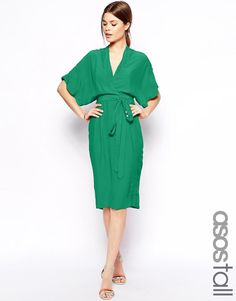 ASOS Tall | ASOS TALL Midi Dress With Obi Belt at ASOS
