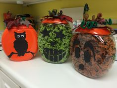Tide Pods containers transformed into fall decorations!