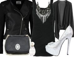 outfit - black leather jacket, black dress, silver sequin heels, black cardi