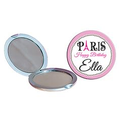 Choose the design that fits your style, upload your photo or logo, select your font, and add your text to these Bonjour Pink Paris Compact Mirrors!
