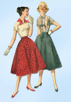 1950s Vintage Simplicity Sewing Pattern 1736 Easy Uncut Misses Skirt & Blouse 33