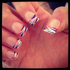Let's Go Buffalo! Buffalo Bills nails I'm going to get my nails like t… Let's go Buffalo ! Buffalo Bill's nails I'm going to get my nails like that Holiday Nail Designs, Holiday Nails, Fingernail Designs, Nail Art Designs, Blue Nails, My Nails, Patriotic Nails, 4th Of July Nails, July 4th Nails Designs