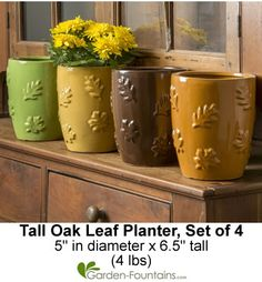 Tall Oak Leaf Planter, Set of 4. Great for decorating or gifts for the holidays! http://www.garden-fountains.com/Detail.bok?no=8154