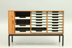 Low rosewood office unit on metal legs designed and produced in Denmark around 1970. www.reModern.dk