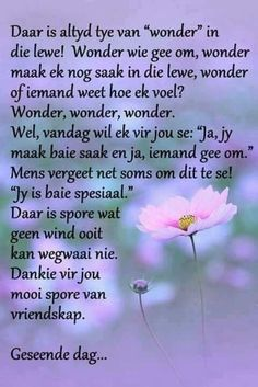 Daar is spore wat geen wind ooit kan wegwaai nie, dankie vir jou mooi spore van vriendskap. Uplifting Quotes, Positive Quotes, Inspirational Quotes, Positive Thoughts, Afrikaanse Quotes, Memories Quotes, Special Quotes, Motivational Words, Scripture Verses