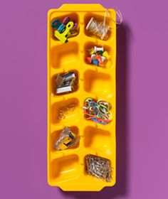 Store your miscellaneous office supplies in an unused ice cube tray!  https://www.manilla.com/blog/simply-de-clutter/how-to-get-organized-using-free-things-you-already-have/