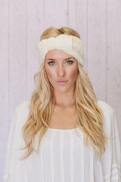 BOW Knitted Headband Bow Ear Warmer in Ivory Cream Petite Bow EarWarmer. $28,00, via Etsy.