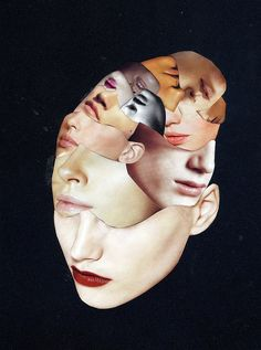 Face by faces portrait art collage artist molly barron. Photomontage, Modern Art, Contemporary Art, Street Art, Kunst Online, Foto Art, Arte Pop, Mixed Media Collage, Art Plastique