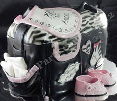 Dimensional Zebra Diaper Bag Cake: Dimensional Zebra Diaper Bag Cake - Itz My Party Cakery