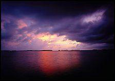 Storm clouds over Florida Bay at sunset. Everglades National Park, Florida, USA.