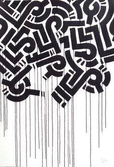 Aaron De La Cruz untitled ink-on-paper at @886geary.