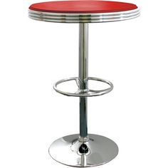 AmeriHome Red Retro Soda Shop Table ($155) ❤ liked on Polyvore featuring home, furniture, tables, dining tables, red, retro kitchen table, adjustable pub table, chrome dining table, retro chrome table and game table