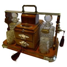 Magnificent Unusual Combined Antique English Tantalus Cigar Safe / from puckerings on Ruby Lane Gentlemans Lounge, Crystal Holder, Cigar Art, Cigar Accessories, Cigar Room, Whiskey Decanter, Just Dream, Antique Lighting, Antique Glass