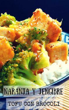 Naranja y jengibre son sabores tipicos de la cocina china. Esta es una versión vegetariana (vegana) usando tofu y brócoli. Una receta rápida que esta lista en 30 minutos y perfecto para una cena de entre semana.