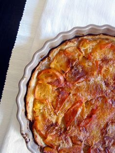 Persimmon Tart - simple tart to use up some of the persimmons (kaki in French) from our garden.